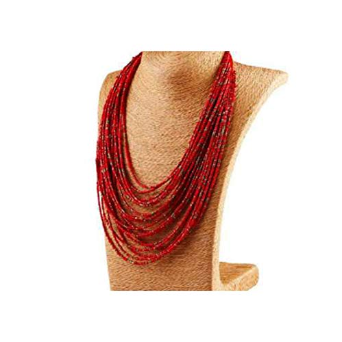 Bead Necklaces Patterns - Nataliya Collar Statement Necklace (red Water Bead Multi Layer necklacre)