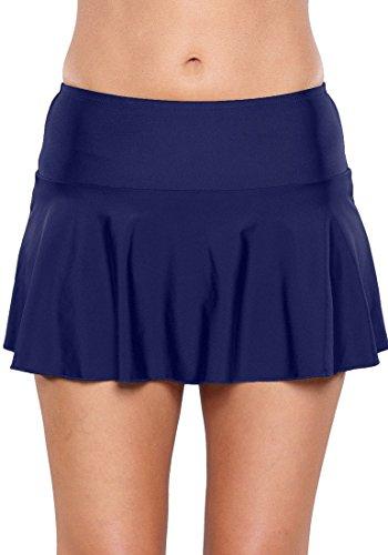 Mini Skirt Bottom (GRAPENT Women's Royal Blue Skirted Bikini Bottom Waistband Ruffled Swim Skirt Solid Swimsuit L(US 10-12))