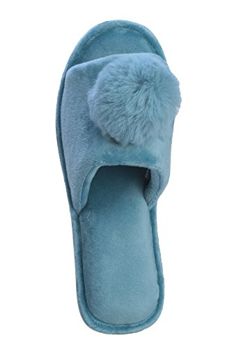 Slippers Indoor for for Toe;Great Open Women Outdoor Joan Blue Vass pom Pom tqwWfzO