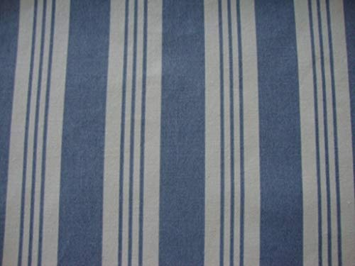 Rod Pocket Lodge Drapes (Valance Blue and White Stripe Cotton Window Treatment Custom Made Farmhouse Style)