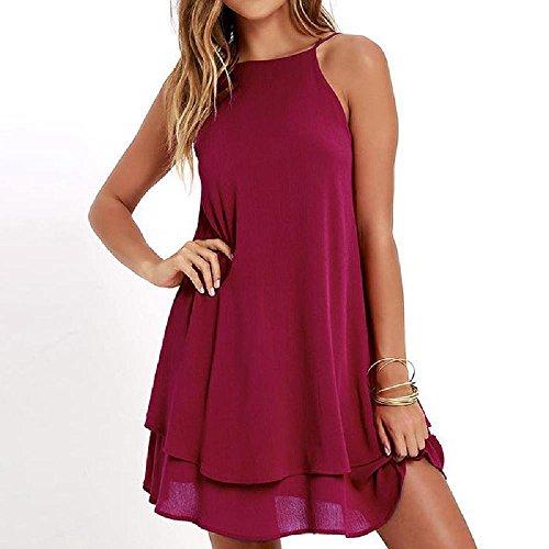 NDJqer Summer Backless Chiffon Dress Women Sexy Sleeveless Spaghetti Strap Dresses Solid Beach Party Dress Wine red XL