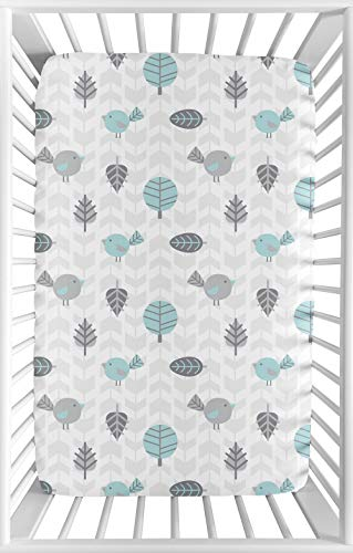 Sweet Jojo Designs Turquoise Blue, Gray and White Bird Baby Boy or Girl Unisex Fitted Mini Portable Crib Sheet for Earth and Sky Collection - for Mini Crib or Pack and Play ONLY