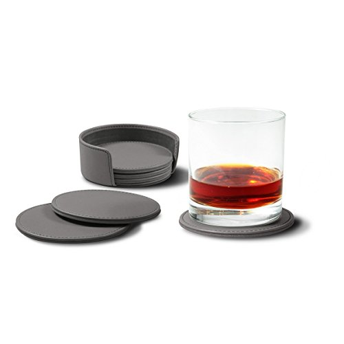 Lucrin - Set of 6 coasters - Mouse-Grey - Genuine Leather