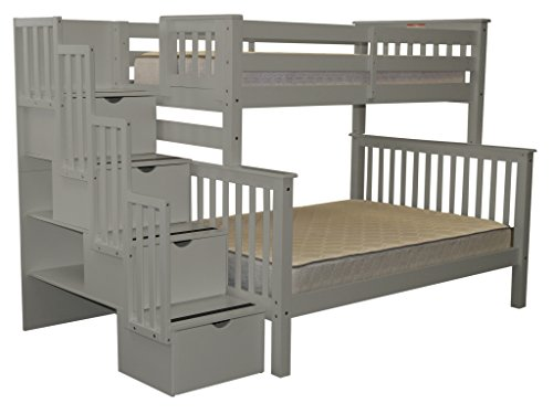 Bedz King Stairway Bunk Bed Twin over Full with 4 Drawers in the Steps, Gray