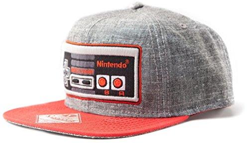 Meroncourt BIO-SB08NONCT Nintendo Original Embroidered Retro NES Controller Legend of Zelda Baseball Cap, Grey, One Size