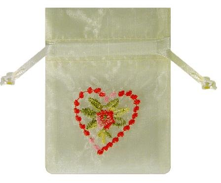 Ivory Satin Red & Pink Embroidered Heart & Flower Favor Pouch Gift Bag 12 Pk Set -