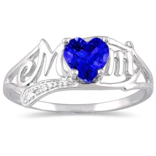 Created Blue Sapphire & Diamond Heart MOM Ring .925 Sterling Silver Rhodium Finish