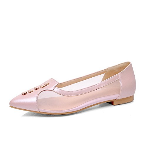 WeenFashion Women's Cow Leather No-Heel Pointed-Toe Pumps-Shoes with Hollow Out and Studded Rivet, Pink, 41
