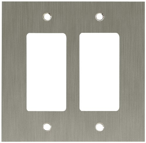 Franklin Brass Concave 2-Gang Double Decorator / Rocker / GFCI Device Wall Switch Plate Cover, Satin Nickel
