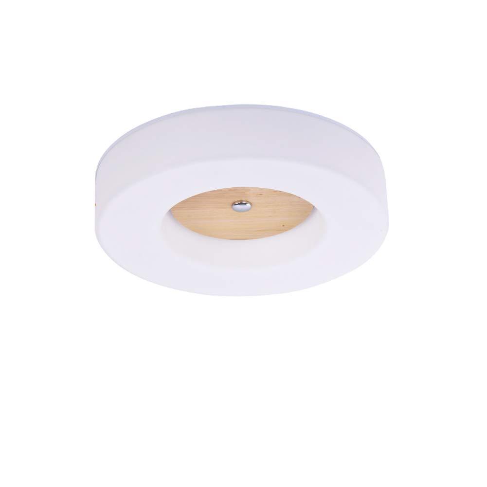 VinDeng Runde Kreativ LED Deckenleuchte, 24W Einfache Holz Deckenlampe Mit Acryl Nordisch Pendellampe Für Schlafzimmer Flur-35cm kaltes Weiß