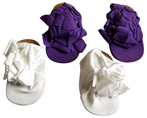 Bebé niña carrito Pre Walker zapatos de algodón suave en conjuntos de regalo de 2pares, varios colores. Purple & White