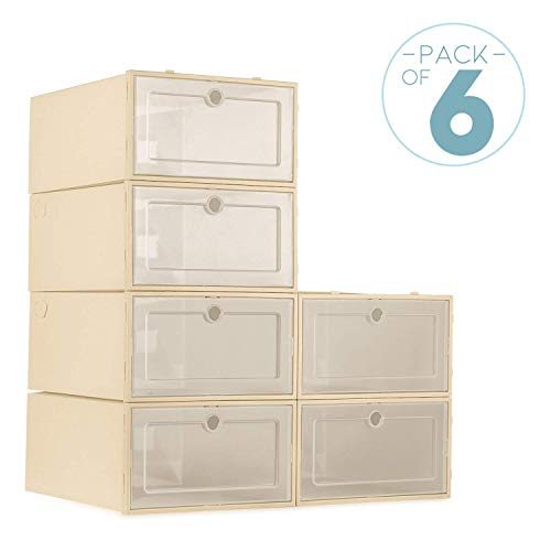 (ZODDLE Foldable Shoe Storage Boxes-6 Pack)