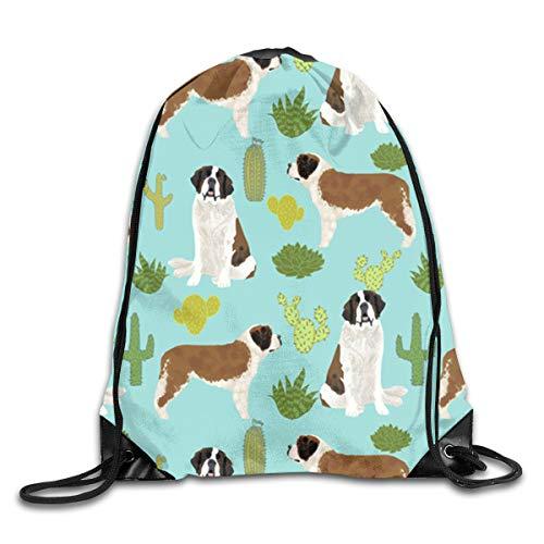Drawstring Sports Backpack Bags Gym Bag Sack Party Favor Bag Overnight Bag For Unisex - Saint Bernard -