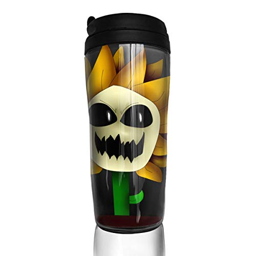 Insulated Water Bottle, Undertale Sunflower, Milk Tea Drinking Water Bottle Coffee Mug Reusable Plastic Curve Travel Mug for Kids Teens Adults