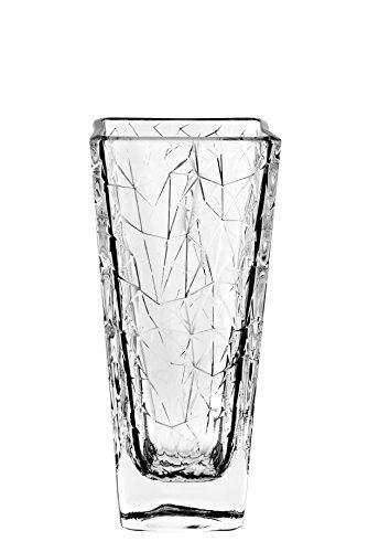 Barski European - Glass - Designed Square Vase - 9.6