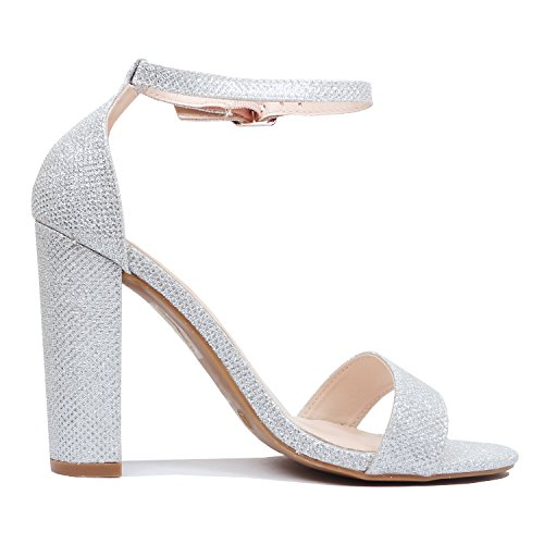 Chunky High Comfort Guilty Toe Block Silver Strap Sandal Party Heart Glitter Heel Womens Dress Ankle Sexy Open Formal xzqCfz0w