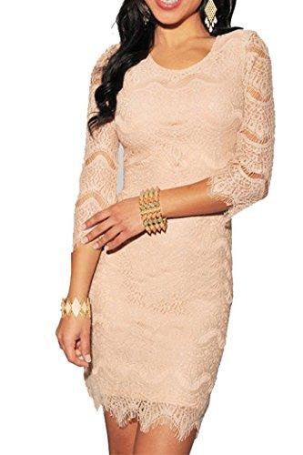made2envy Allover Lace Three Fourth Sleeves Dress (M, Peach) LLC27971