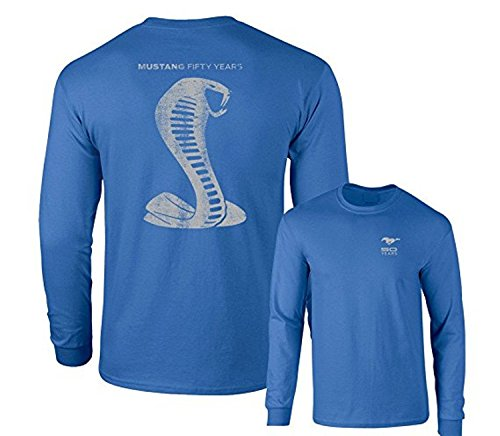 - Mustang 50 Years Ford 50 Shelby Gray Snake Long Sleeve TEE F & B, Royal Blue, XL