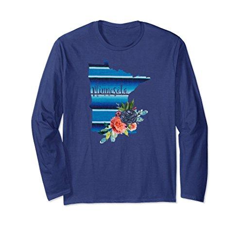 Unisex Minnesota Serape Blanket Watercolor Floral Long Sleeve Shirt Medium (Minnesota Classic Blanket)