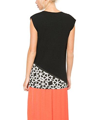 Desigual ATOMI-Camiseta Mujer, color negro (negro 2000), talla L