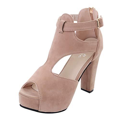 (KESEELY Women Summer Ankle Strap Boot Sandals Ladies High Heels Open Toe Gladiator Sandals Beige)