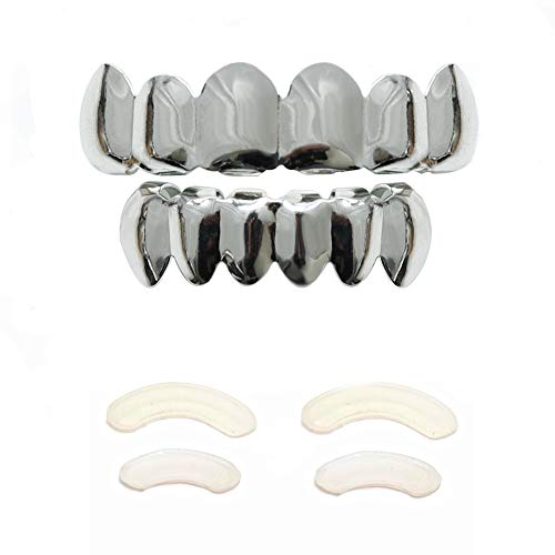 TSANLY Gold Grillz 6 Teeth Mouth 24K Plated Gold Top & Bottom Grills Caps Set for Son + Extra Molding Bars + Microfiber - Grills Teeth Top