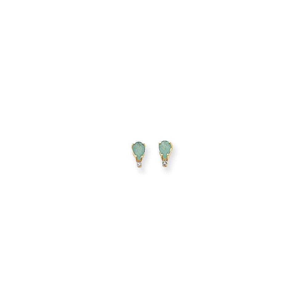 14k 6x4 Pear /& Diamond Earrings in 14k Yellow Gold