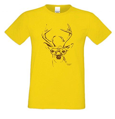 T-Shirt mit Motiv - Wiesn Hirsch mit Brille - Lustiges Outfit auch als Geschenk passend zum Oktoberfest in Gelb 3