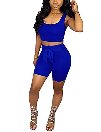 (Adogirl Sexy2PieceOutfitsSportJumpsuitTank Tops Tracksuit BodyconClubwear Blue M)