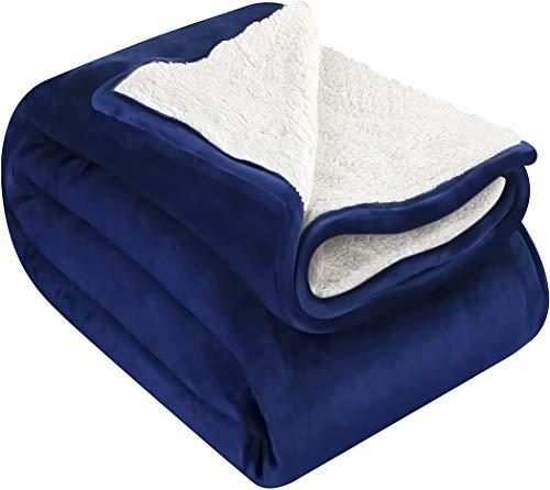 Utopia Bedding Sherpa Flannel Fleece Reversible Bed Blanket Extra Soft Brushed Microfiber (Queen, Navy)