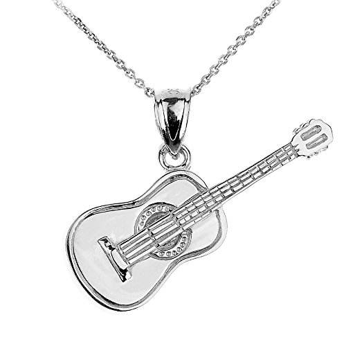 Music Jewelry 925 Sterling Silver Acoustic Guitar Charm Pendant Necklace, 16