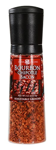 Dean Jacob's Bourbon Chipotle Bacon Seasonings Chef Size Jumbo Grinder ~ 6.1 oz. (Flavored Salt Bacon)