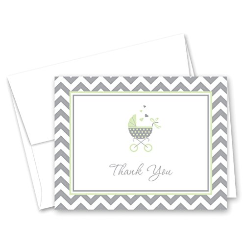 50 Cnt Lovely Mint Carriage Baby Shower Thank You Cards