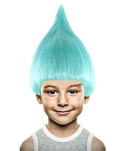 Halloween Party Online Troll Wig, Light Blue Kids -