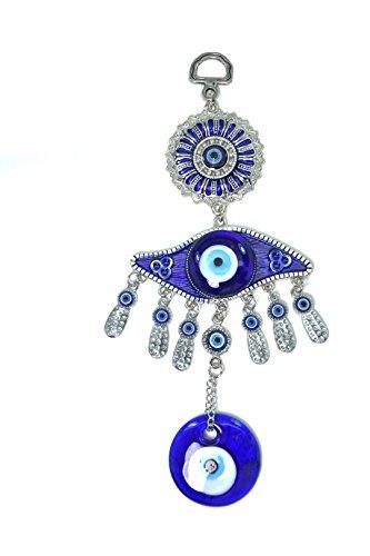 Turkish Blue Evil Eye  Nazar  Blue Flower Hamsa Hand Amulet Wall Hanging Home Decor Protection Good Luck Blessing Housewarming