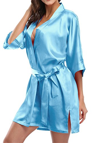 Giova Pure Color Satin Short Silky Bathrobe Sleepwear Nightgown Pajama,Sky Blue,Small