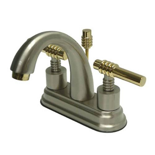Milano Centerset Bathroom Faucet with Double Lever Handles Finish: Satin Nickel/Polished Brass