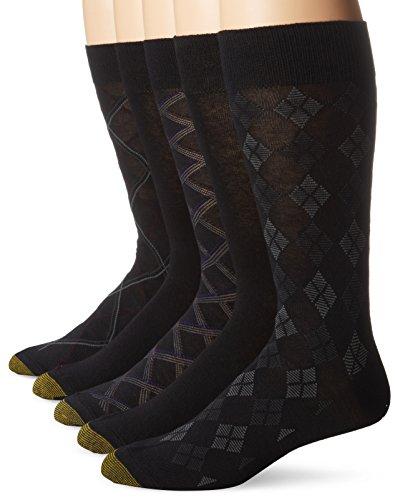 Gold Toe Dress Socks Spandex (Gold Toe Men's 5 Pack Diagonal Plaid Fashion, Black, 10-13/6-12)