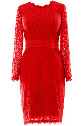 MACloth Women Long Sleeve Lace Short Cocktail Dress Wedding Party Evening Gown Rojo