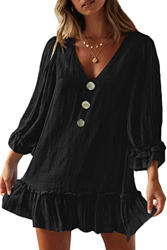 - CILKOO Women RoundNeck Loose FlareTunic Casual Ruffle Long Sleeve TieBlue Casual Mini Dress Beach Ruffles Midi Skater Dress with Pockets US12-14 Large