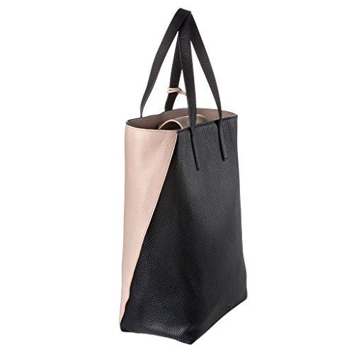 DUDU Shopping Bag donna Shopper grande in Vera Pelle a 2 manici Borsa a tracolla regolabile e staccabile Nero/Nude