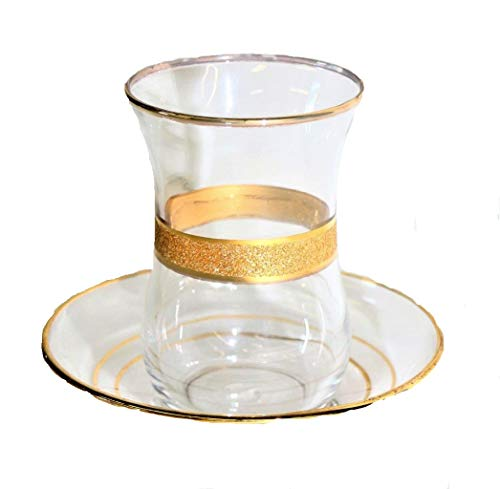 (Turkish Tea Glass Set of 6 Cups with Matching Saucers Gold Embossed Art Glass (Gold Rope))