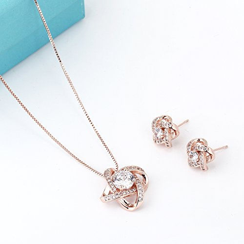 Crystal Jewelry Set for Women - Elegant Rose Gold Jewelry Set for Wedding Bridal Crystal Cubic Zirconia Love Knot Pendant Necklace Earrings for Party Prom Valentine's Day Fashion Jewelry Gift Set by AMYJANE (Image #2)