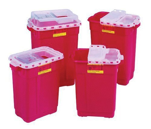 """BECTON DICKINSON & COMPANY 305487 Nestable Sharps Collector, Red Base, Natural Top with Dual Access, 9"""" H x 4.5"""" L x 4"""" W"""