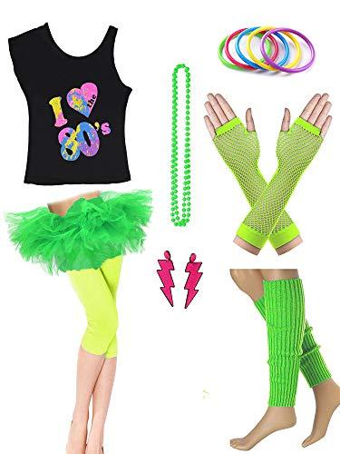 Dorigan Womens 80s Neon Rainbow T-Shirt Fancy Outfit Dress Costume Accessories (XL, Green) ()