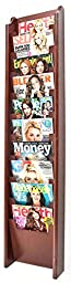 Displays2go 10-Pocket Wood Magazine Rack for Floor/Wall Mount Use, Red Mahogany Finish (MG10WFRM)