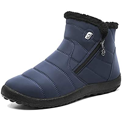 FEETCITY Mens Snow Boots Women Winter Anti-Slip Ankle Booties Waterproof Slip On Warm Fur Lined Sneaker