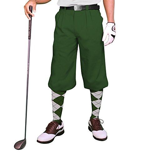 - Dark Green Golf Knickers: Mens 'Par 3' - Microfiber - 34