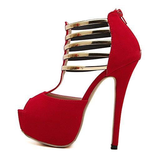Femmes Confort Velours Sexy Peep-toe Métal T-strap Sandale Plate-forme Talon Haut Stiletto Parti Pompe Rouge