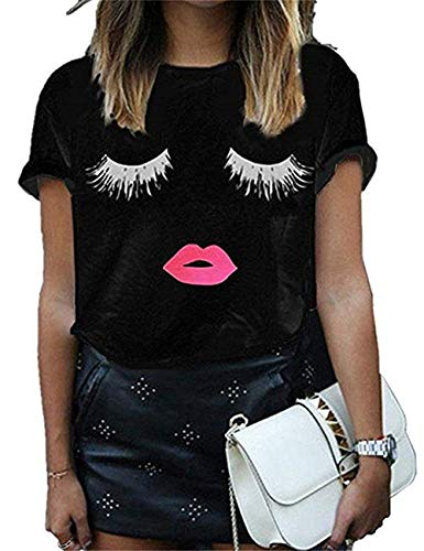 TYFeng Women's Short Sleeve Lips Print Causal Off The Shoulder T-Shirt Tops (Black+Eye, XXL)